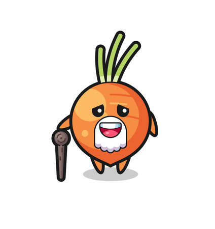 cute carrot grandpa is holding a stick , cute style design for t shirt, sticker, logo element Logo