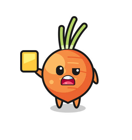 cartoon carrot character as a football referee giving a yellow card , cute style design for t shirt, sticker, logo element Logos