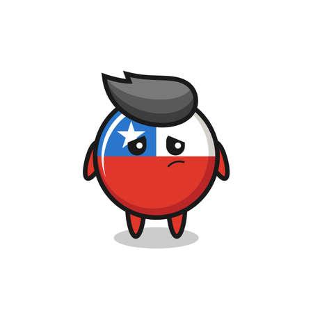the lazy gesture of chile flag badge cartoon character , cute style design for t shirt, sticker, logo element