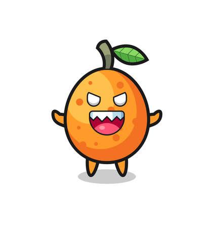 illustration of evil kumquat mascot character , cute style design for t shirt, sticker, logo element