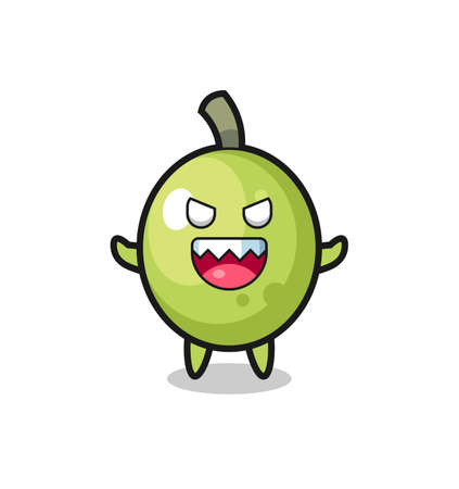 illustration of evil olive mascot character , cute style design for t shirt, sticker, logo element