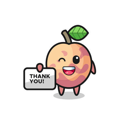 the mascot of the pluot fruit holding a banner that says thank you , cute style design for t shirt, sticker, logo element Logo