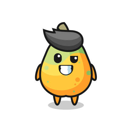 cute papaya mascot with an optimistic face , cute style design for t shirt, sticker, logo element