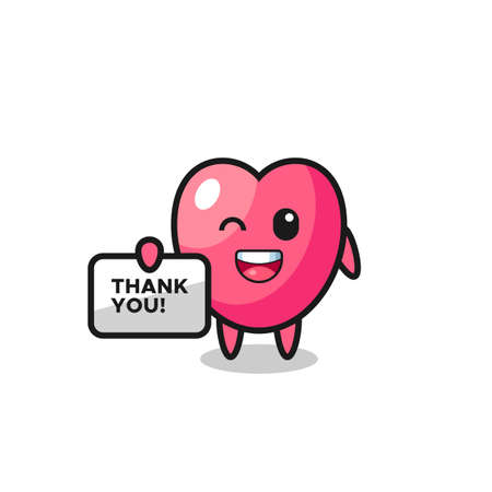 the mascot of the heart symbol holding a banner that says thank you , cute style design for t shirt, sticker, logo element