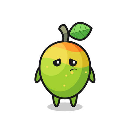 the lazy gesture of mango cartoon character , cute style design for t shirt, sticker, logo element