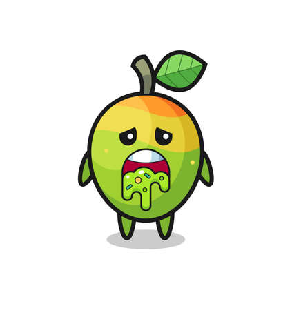 the cute mango character with puke , cute style design for t shirt, sticker, logo element