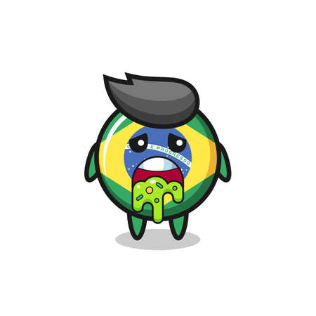 the cute brazil flag badge character with puke , cute style design for t shirt, sticker, logo element