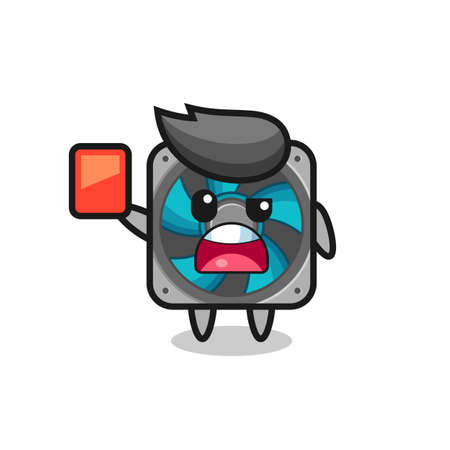 computer fan cute mascot as referee giving a red card , cute style design for t shirt, sticker, logo element