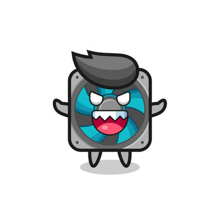 illustration of evil computer fan mascot character , cute style design for t shirt, sticker, logo element