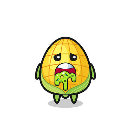 the cute corn character with puke , cute style design for t shirt, sticker, logo element