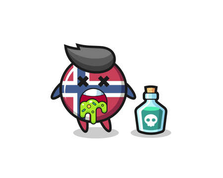 illustration of an norway flag badge character vomiting due to poisoning , cute style design for t shirt, sticker, logo element