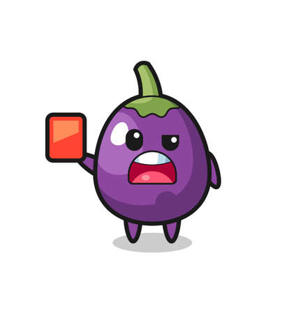 eggplant cute mascot as referee giving a red card cute eggplant character is holding an old telescope