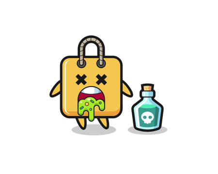 illustration of an shopping bag character vomiting due to poisoning , cute style design for t shirt, sticker, logo element