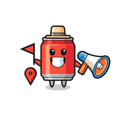 Character cartoon of drink can as a tour guide , cute style design for t shirt, sticker, logo element
