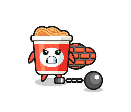 Character mascot of instant noodle as a prisoner , cute style design for t shirt, sticker, logo element Logo