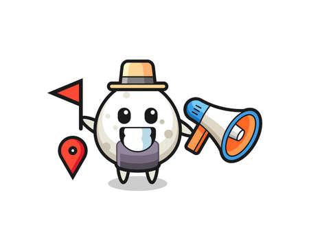 Character cartoon of onigiri as a tour guide , cute style design for t shirt, sticker, logo element