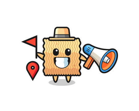 Character cartoon of raw instant noodle as a tour guide , cute style design for t shirt, sticker, logo element