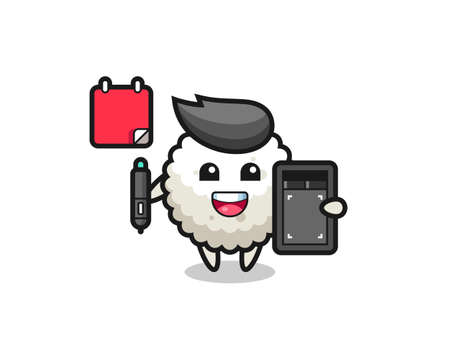 Illustration of rice ball mascot as a graphic designer , cute style design for t shirt, sticker, logo element