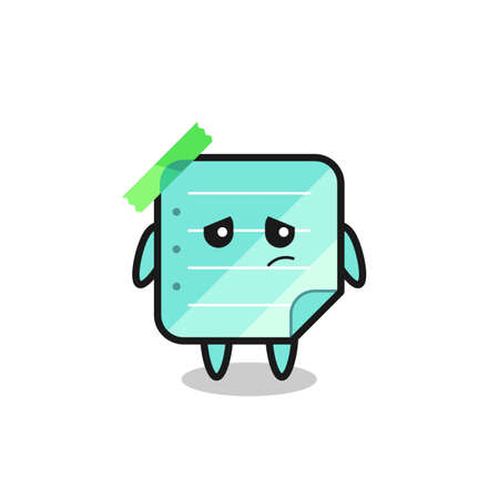 the lazy gesture of blue sticky notes cartoon character , cute style design for t shirt, sticker, logo element Logo