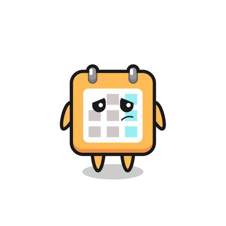 the lazy gesture of calendar cartoon character , cute style design for t shirt, sticker, logo element