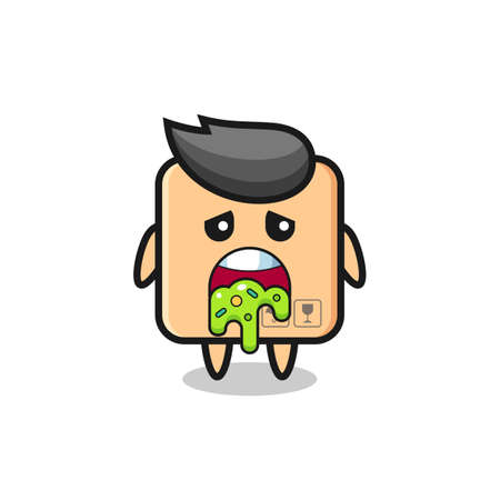 the cute cardboard box character with puke , cute style design for t shirt, sticker, logo element