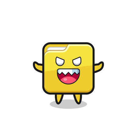 illustration of evil folder mascot character , cute style design for t shirt, sticker, logo element