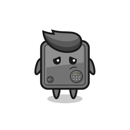 the lazy gesture of safe box cartoon character , cute style design for t shirt, sticker, logo element Logo