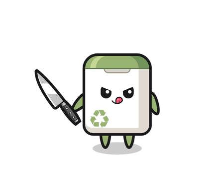 cute trash can mascot as a psychopath holding a knife , cute style design for t shirt, sticker, logo element Logo