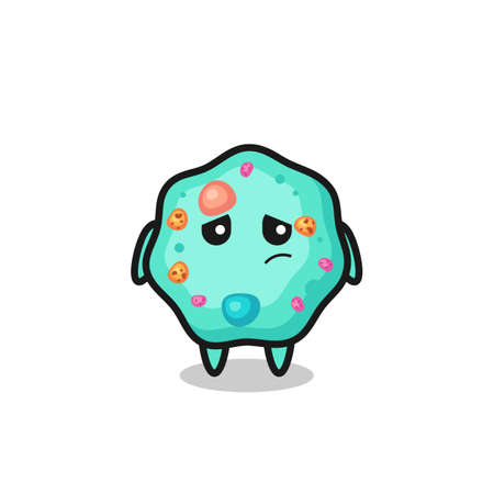 the lazy gesture of amoeba cartoon character , cute style design for t shirt, sticker, logo element