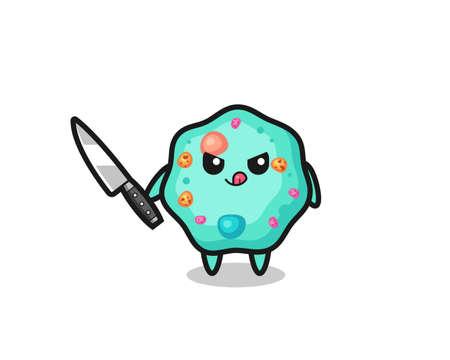 cute amoeba mascot as a psychopath holding a knife , cute style design for t shirt, sticker, logo element