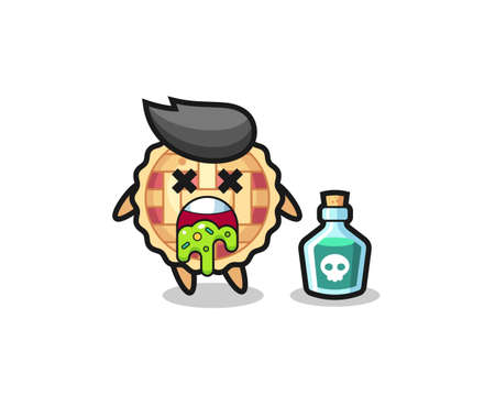 illustration of an apple pie character vomiting due to poisoning , cute style design for t shirt, sticker, logo element