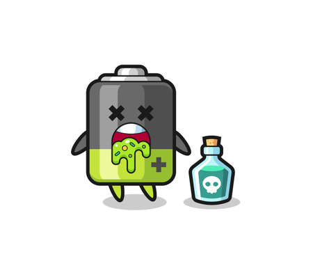 illustration of an battery character vomiting due to poisoning , cute style design for t shirt, sticker, logo element Logo