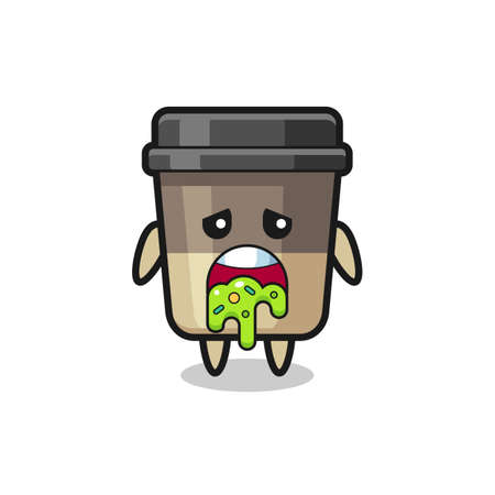 the cute coffee cup character with puke , cute style design for t shirt, sticker, logo element