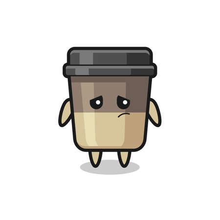 the lazy gesture of coffee cup cartoon character , cute style design for t shirt, sticker, logo element