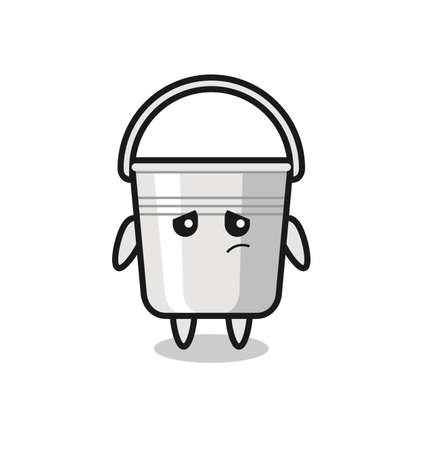 the lazy gesture of metal bucket cartoon character , cute style design for t shirt, sticker, logo element Logo
