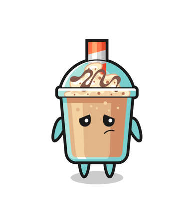 the lazy gesture of milkshake cartoon character , cute style design for t shirt, sticker, logo element