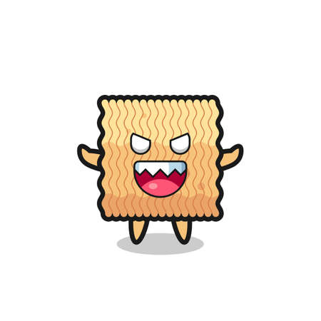 illustration of evil raw instant noodle mascot character , cute style design for t shirt, sticker, logo element Logo