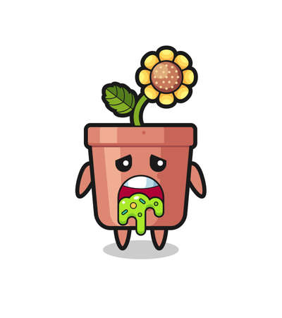 the cute sunflower pot character with puke , cute style design for t shirt, sticker, logo element Logo