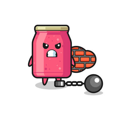 Character mascot of strawberry jam as a prisoner , cute design