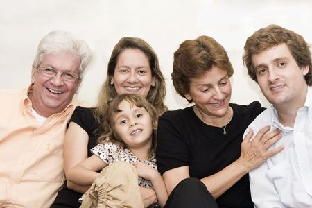 Portrait of family, grandparents, mom and dad playing with a daughter Stock Photo