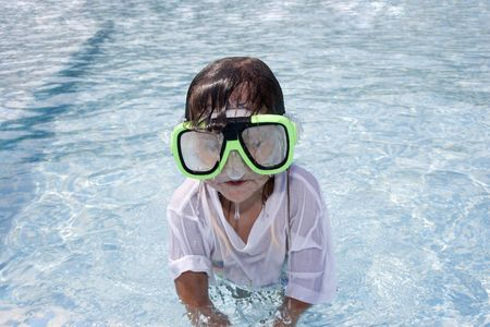 Swimmer, Little girl with snorkel photo