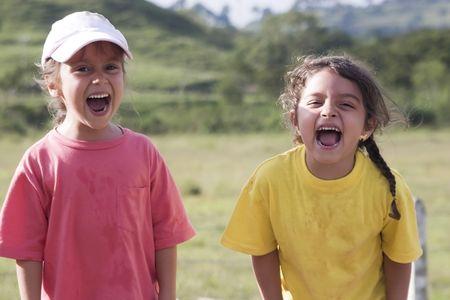 Two girls having fun outdoor photo