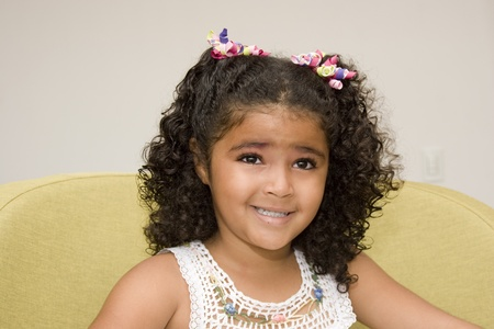 indian children: Portrait of Addorable Happy Beautiful Little Girl Stock Photo