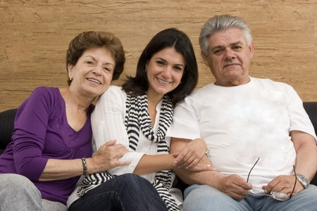 Daughter enjoying with her mature Mother and Father Stock Photo - 10909723