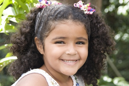 kindergarden: Portrait of Addorable Happy Beautiful Little Girl Stock Photo