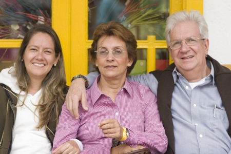 Portrait Of Family, Attractive Woman With Her Parents Outdoors photo