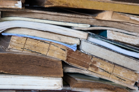 Many Messy Old Books Scattered