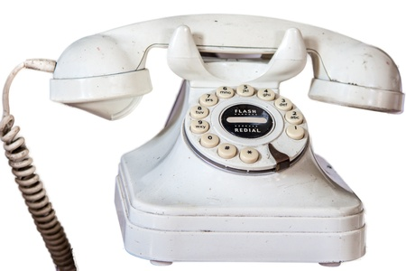 Dirty Old Fashioned Telephone With Rotary Dial isolated On A White Background Stock Photo - 16247405