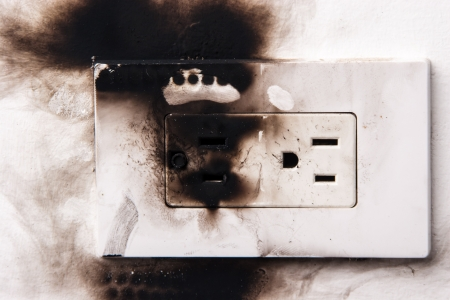 electrical failure in power outlet isolated photo