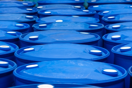 Chemical Plant, Plastic Storage Drums, Blue Barrels Outdoors photo